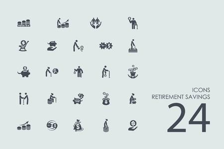 retirement savings: retirement savings vector set of modern simple icons