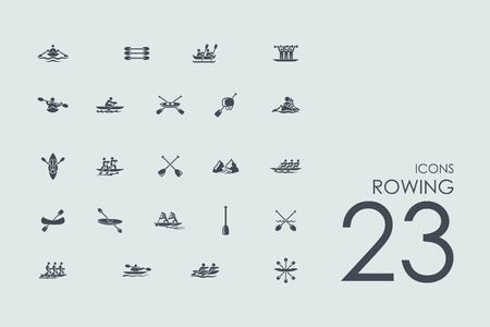 rowing vector set of modern simple icons