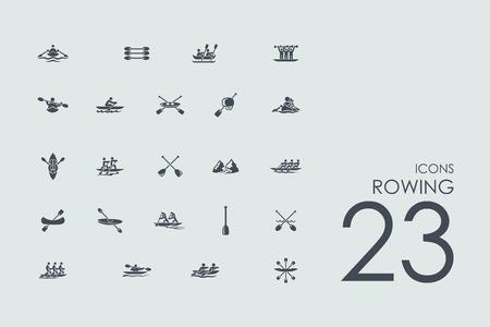 roeien vector set van de moderne eenvoudige pictogrammen Stock Illustratie