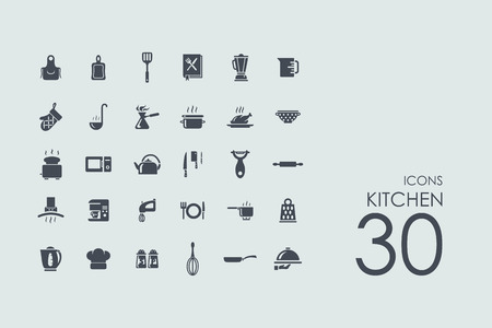 upmarket: kitchen vector set of modern simple icons Illustration