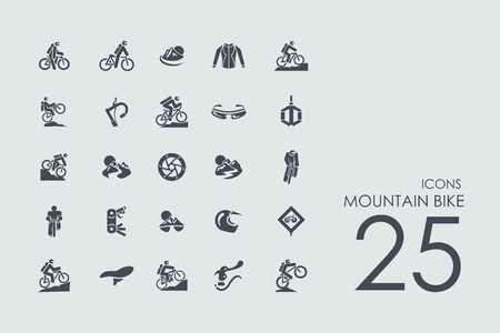 trails: mountain bike vector set of modern simple icons