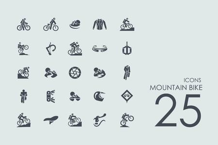 bicicleta vector: vector de bicicleta de montaña conjunto de iconos simples modernos