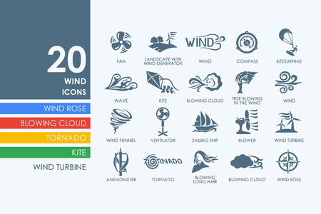winds: wind vector set of modern simple icons
