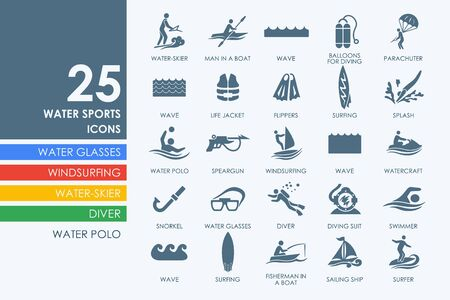 water skier: water sports vector set of modern simple icons