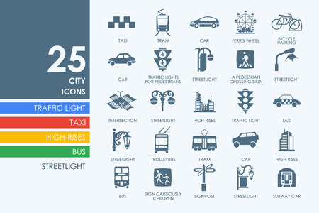 center city: city vector set of modern simple icons Illustration