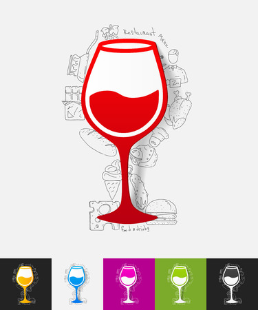 winy: hand drawn simple elements with wineglass paper sticker shadow