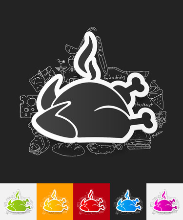 chicken meat: hand drawn simple elements with chicken paper sticker shadow Illustration