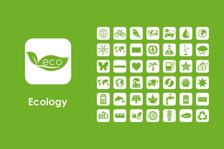 それは生態学の単純な web アイコンのセット  イラスト・ベクター素材