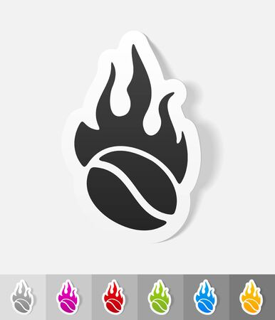 soluble: coffee roasting paper sticker with shadow. Vector illustration