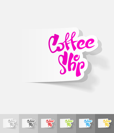 cheerfulness: coffee shop paper sticker with shadow. Vector illustration