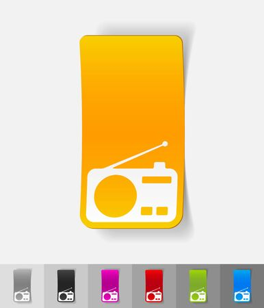 modulator: radio paper sticker with shadow. Vector illustration