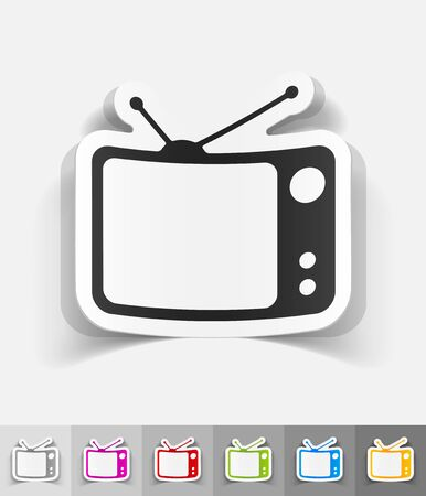 new technology: tv set paper sticker with shadow. Vector illustration Illustration