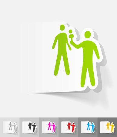 Interviewer et l'autocollant en papier répondant avec l'ombre. Illustration vectorielle Vecteurs