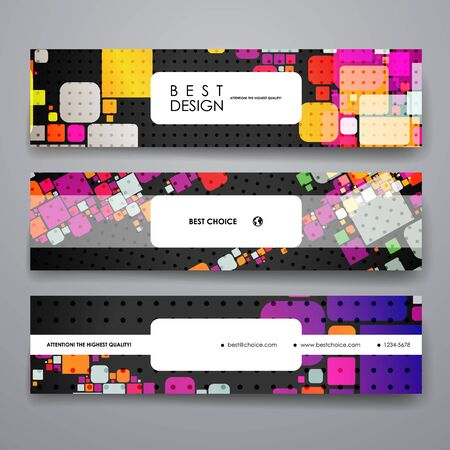 business card template: Set of modern design banner template in abstract geometric background style. Beautiful design and layout Illustration