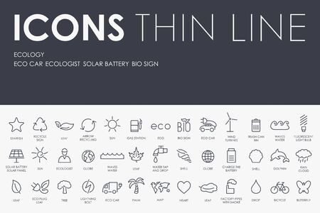 recycle area: Thin Stroke Line Icons of ecology on White Background