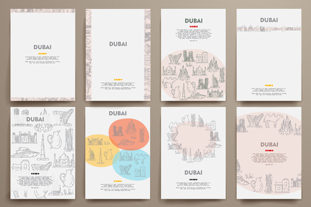 united arab emirate: Corporate identity vector templates set with doodles Dubai theme. Target marketing concept