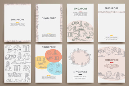 Corporate identity vector templates set with doodles Singapore theme. Target marketing concept Illustration