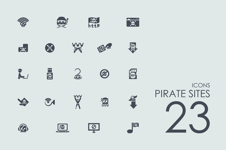 ddos: pirate sites vector set of modern simple icons Illustration