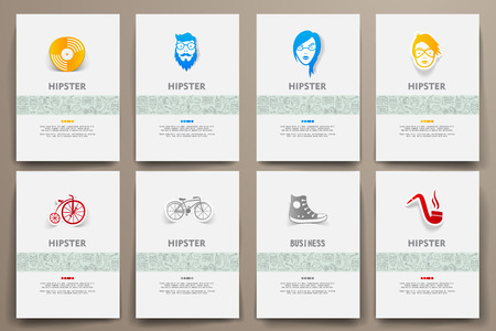 slang: Corporate identity vector templates set with doodles hipster theme. Target marketing concept