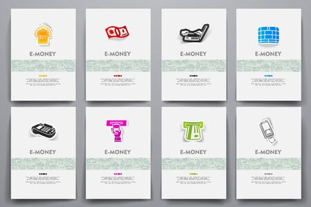 solvency: Corporate identity vector templates set with doodles e-money theme. Target marketing concept
