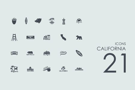 showbusiness: California vector set of modern simple icons