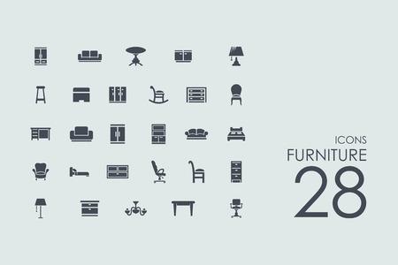 ensemble de vecteurs de meubles de simples icônes modernes