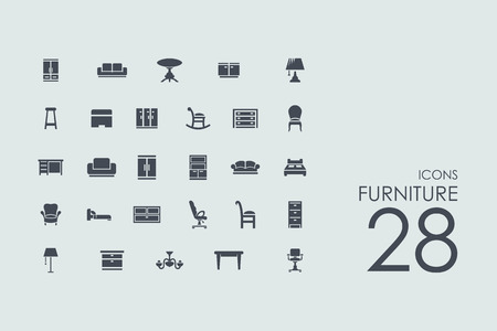 furniture vector set of modern simple icons