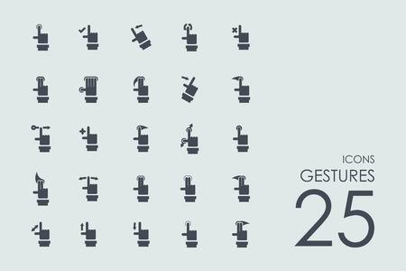 fingers crossed: gestures vector set of modern simple icons