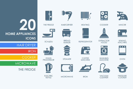 appliances: household appliances vector set of modern simple icons Illustration