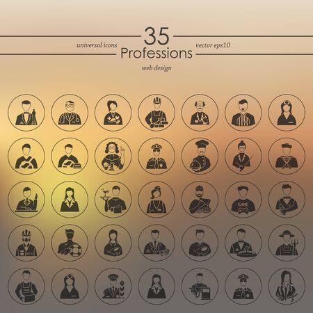 profesiones: Conjunto de iconos de profesiones Vectores