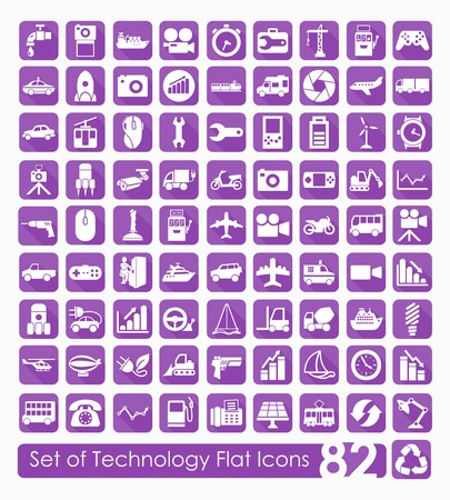 computer system: Set of technology icons Illustration