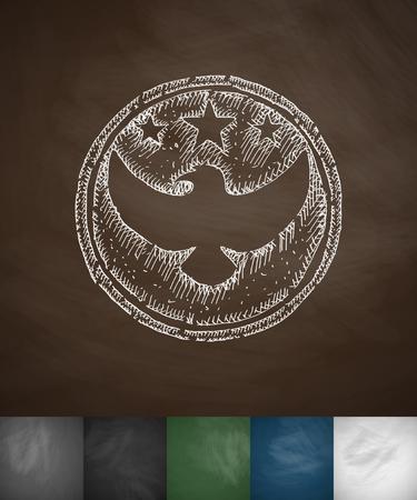troops: emblem US troops icon. Hand drawn vector illustration. Chalkboard Design Illustration
