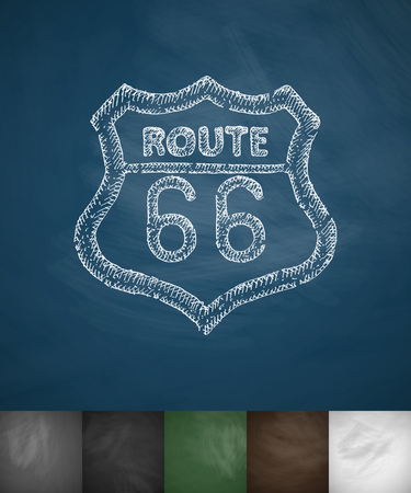 crosshatch: route 66 icon. Hand drawn vector illustration. Chalkboard Design Illustration