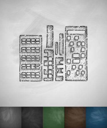 highrises: high-rises icon. Hand drawn vector illustration. Chalkboard Design