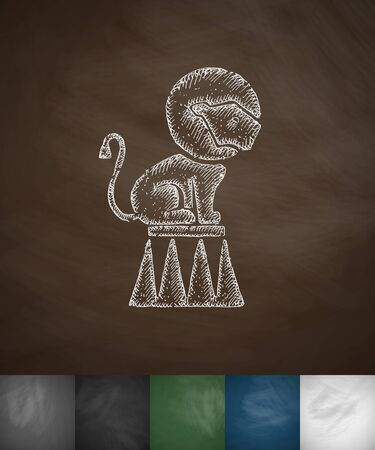 trapeze: lion on the trapeze icon. Hand drawn vector illustration. Chalkboard Design