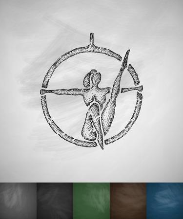 trapeze artist icon. Hand drawn vector illustration. Chalkboard Design