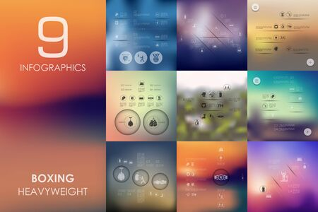 spotlit: boxing vector infographics with unfocused blurred background