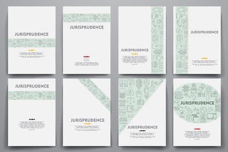 jurisprudence: Corporate identity vector templates set with doodles jurisprudence theme. Target marketing concept