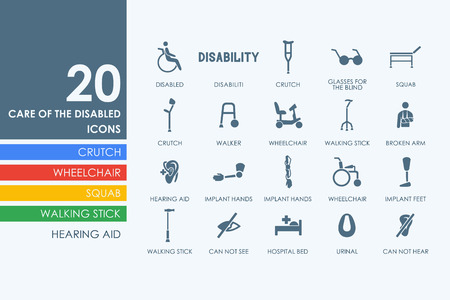 broken arm: people with disabilities vector set of modern simple icons