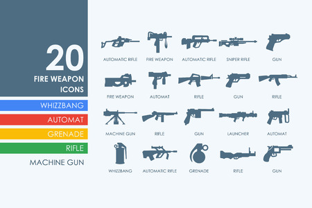 automat: firearms vector set of modern simple icons