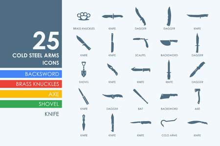 cold war: cold arms vector set of modern simple icons Illustration