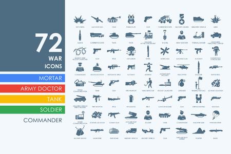 warhead: war vector set of modern simple icons Illustration
