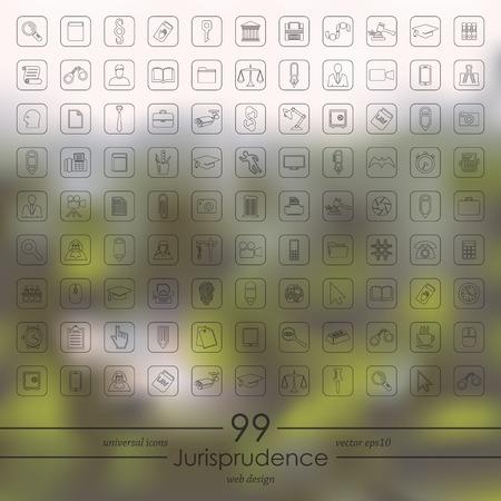alibi: Set of jurisprudence icons Illustration