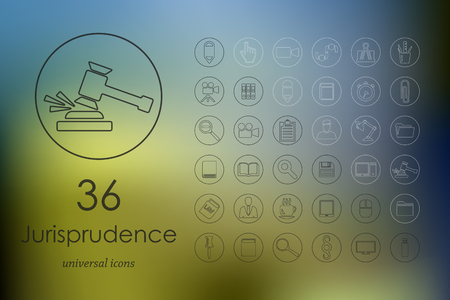 jurisprudencia: iconos modernos de jurisprudencia para la interfaz del móvil en el fondo borroso