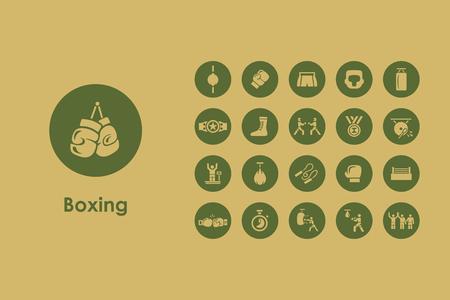 Het is een set van het boksen eenvoudige web iconen
