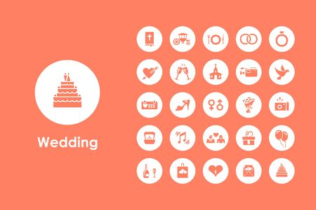 group icon: It is a set of wedding simple web icons Illustration