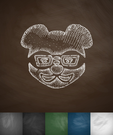 slang: hipster animal icon. Hand drawn vector illustration. Chalkboard Design Illustration