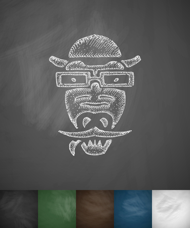 slang: hipster crocodile icon. Hand drawn vector illustration. Chalkboard Design