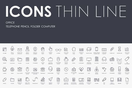 Thin Stroke Line Icons of office on White Background Illustration