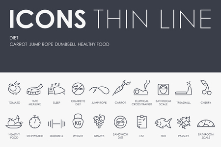 excess: Thin Stroke Line Icons of Diet on White Background Illustration